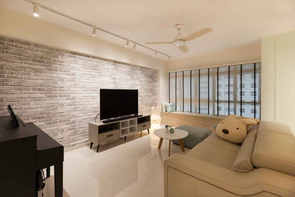 Scandinavian, HDB, Living Room, Jurong West Street 65, Interior Designer, Starry Homestead, Bathroom, Indoors, Interior Design, Room, Couch, Furniture, Dining Table, Table