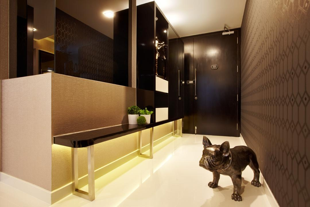Austville Residences, I-Bridge Design, Contemporary, Living Room, Condo, Doorway, Hallway, Walkway, Entrance, Foyer, Shoe Cabinet, Bench, Mirror, Wallpaper, Luxury, Hotel, Opulent, Monochromatic, Browns, Blacks, Dark Colours, Moody, Expressive, Animal, Bulldog, Canine, Dog, French Bulldog, Mammal, Pet