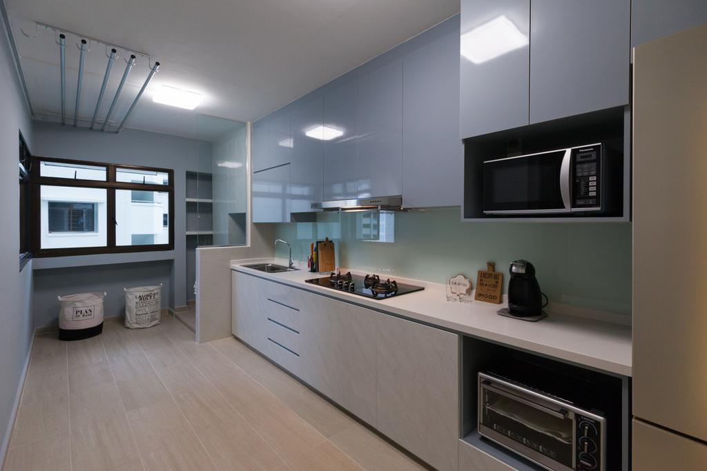 Scandinavian, HDB, Kitchen, Jurong West Street 65, Interior Designer, Starry Homestead, Appliance, Electrical Device, Microwave, Oven, Indoors, Interior Design, Room
