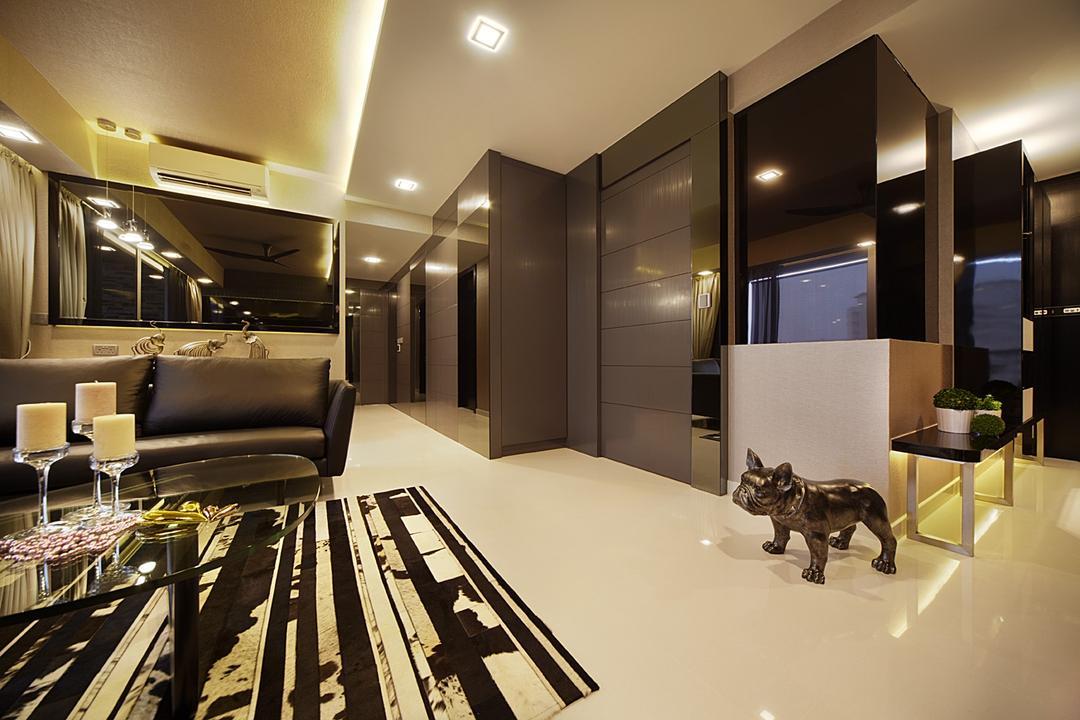 Austville Residences, I-Bridge Design, Contemporary, Dining Room, Condo, Walkway, Hallway, Mirror, Dark Colours, Tiles, Reflective, Corridor, Indoors, Interior Design