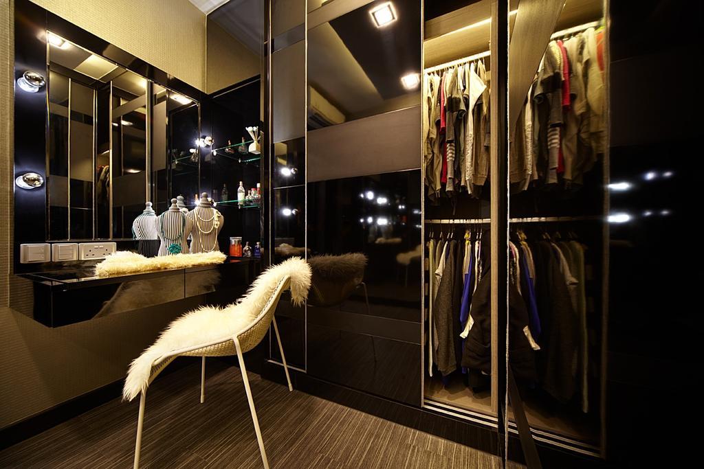 Contemporary, Condo, Bedroom, Austville Residences, Interior Designer, I-Bridge Design, Wardrobe, Mirror, Reflective, Cupboard, Walk In Wardrobe, Dresser, Dressing Room, Powder Room, Spotlight, Cove Lighting, Dark Colours, Moody, Dark, Hotel, Suite, Luxury, Elegant, Lighting, HDB, Building, Housing, Indoors