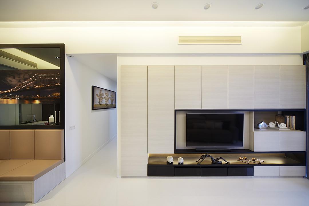 D'Leedon (Block 5), I-Bridge Design, Contemporary, Living Room, Condo, Bookcase, Storage, Tv Storage, Cupboard, Tv Console, Hallway, Cream, Monochrome, White And Black, White, Black, Clean, Tile, Fireplace, Hearth, Indoors, Interior Design