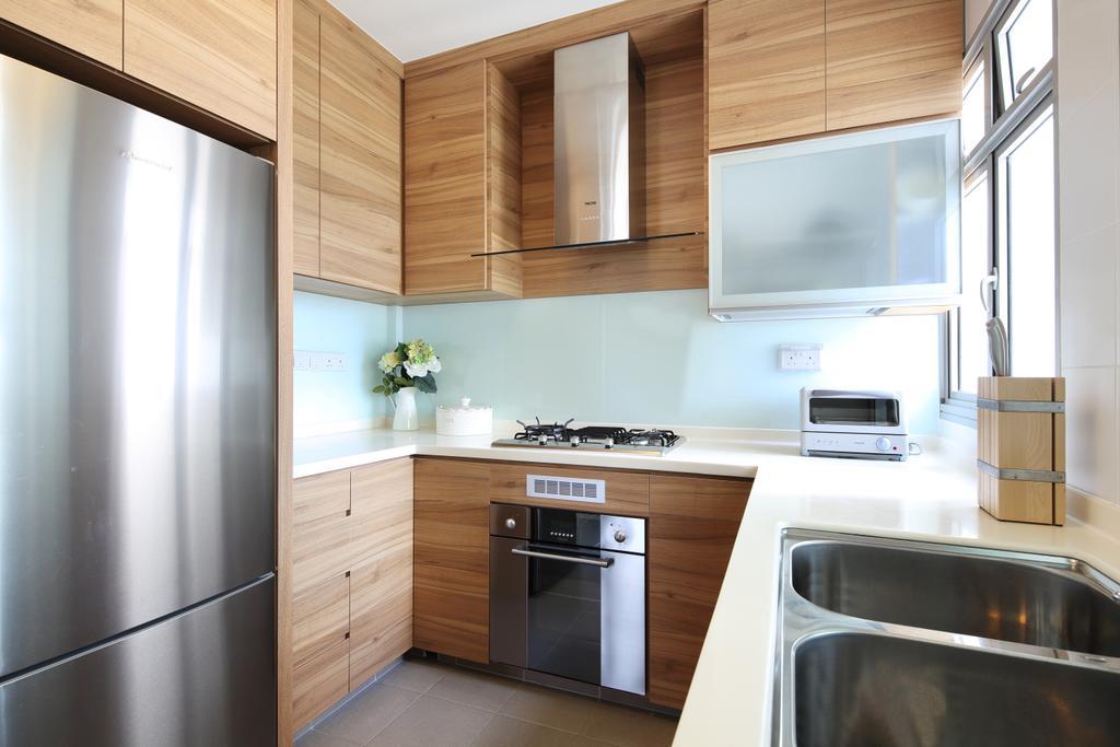Modern, HDB, Kitchen, Compassvale Link, Interior Designer, Jubilee Interior, Scandinavian, Indoors, Interior Design, Room, Appliance, Electrical Device, Oven, Door, Sliding Door