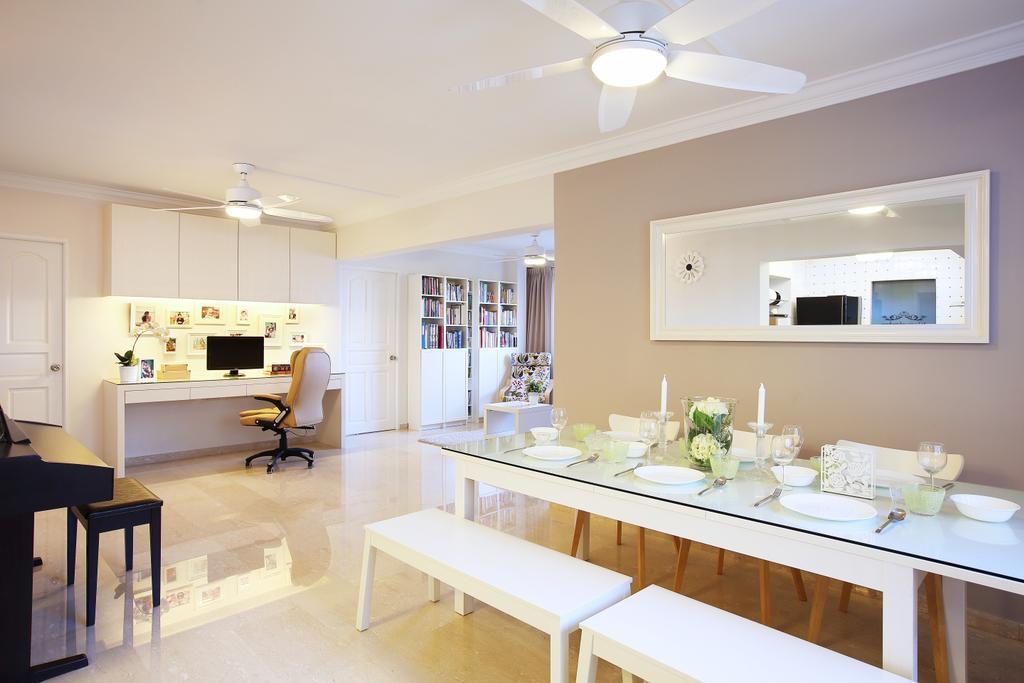 Minimalistic, HDB, Living Room, Leng Kong Tiga, Interior Designer, Jubilee Interior, Scandinavian, Sink, Dining Room, Indoors, Interior Design, Room, Dining Table, Furniture, Table, Flooring