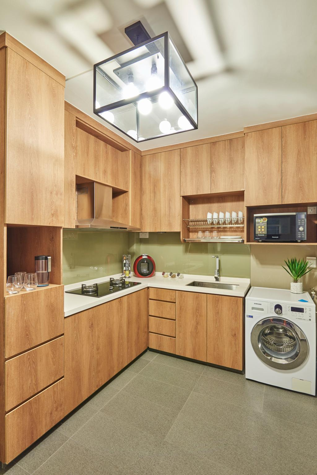 Eclectic, HDB, Kitchen, Woodlands Ring, Interior Designer, Jubilee Interior, Washer, Washing Machine, Full Kitchen, Sink, Dish Rack, Indoors, Interior Design, Room, Flora, Jar, Plant, Potted Plant, Pottery, Vase, Appliance, Electrical Device, Microwave, Oven
