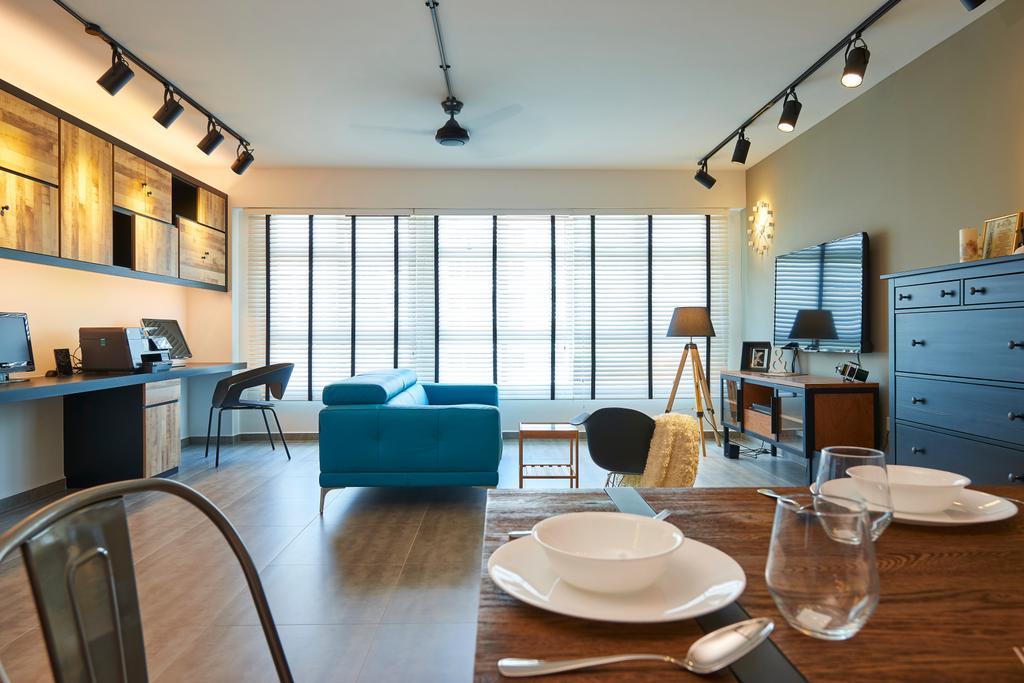 Industrial, HDB, Living Room, Fernvale Link, Interior Designer, Jubilee Interior, Dining Room, Indoors, Interior Design, Room, Dining Table, Furniture, Table
