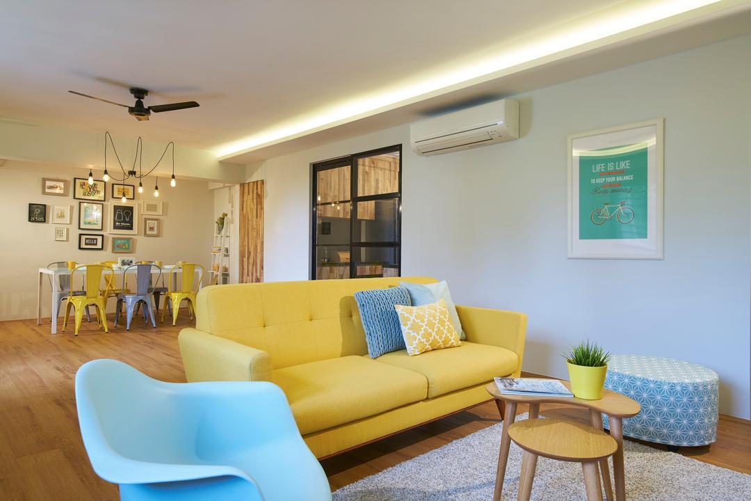Jalan Tenaga, Jubilee Interior, Scandinavian, Living Room, HDB, Couch, Furniture, Indoors, Room, Waiting Room, Chair, Interior Design