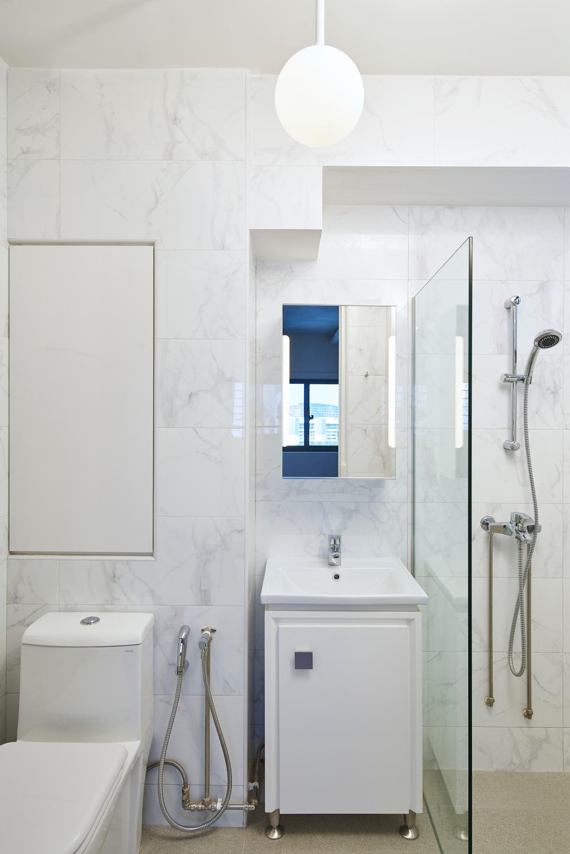 Minimalistic, HDB, Bathroom, Marine Crescent, Interior Designer, Jubilee Interior, Indoors, Interior Design, Room, Shower, White Board