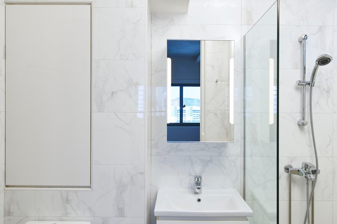 Marine Crescent, Jubilee Interior, Minimalistic, Bathroom, HDB, Indoors, Interior Design, Room, Shower, White Board