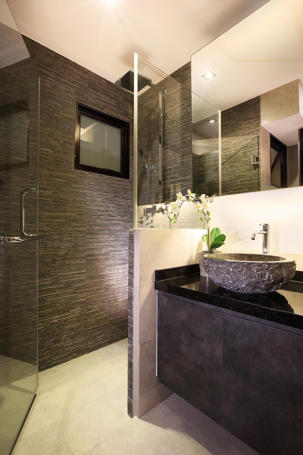 Modern, HDB, Bathroom, Bedok Reservoir View, Interior Designer, Jubilee Interior, Brick