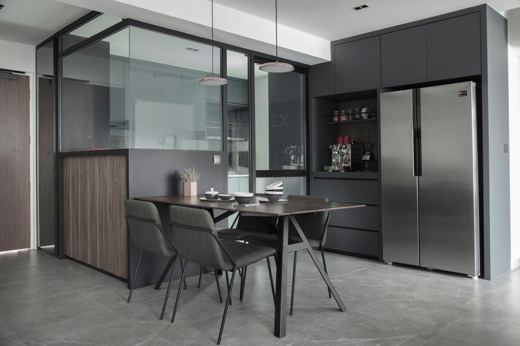Modern, HDB, Dining Room, McNair Road, Interior Designer, KDOT, Dining Table, Furniture, Table, Chair, Building, Housing, Indoors, Loft