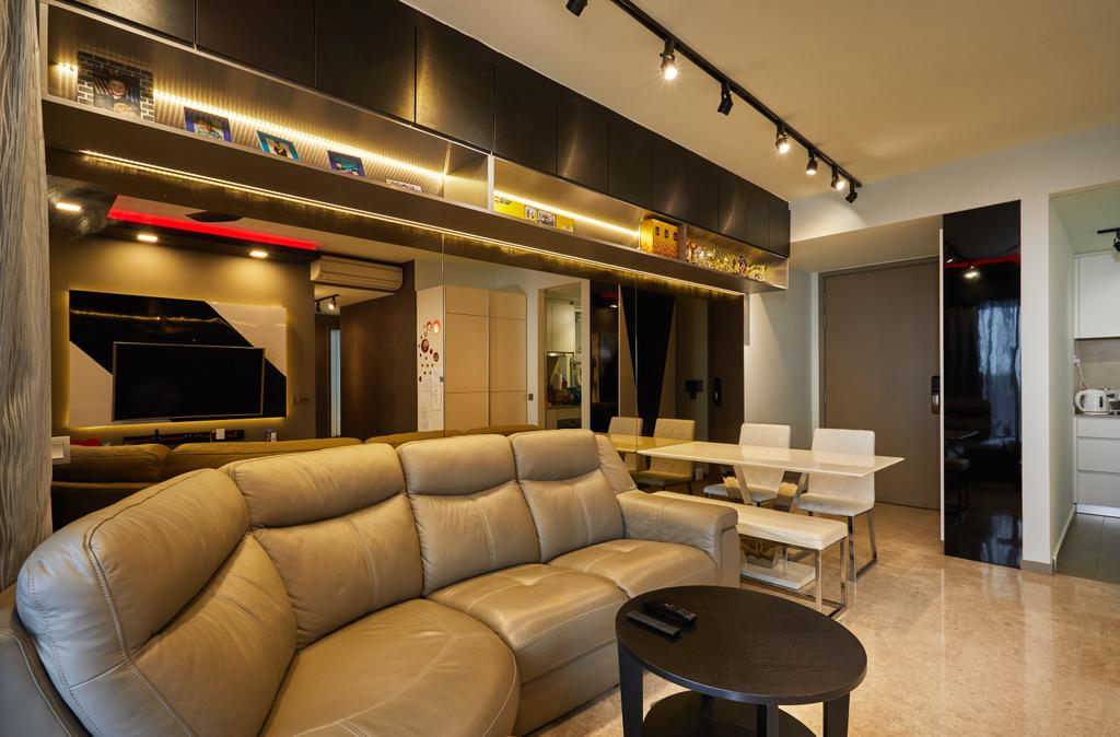 Modern, Condo, Living Room, Riversail, Interior Designer, The Local INN.terior 新家室, Couch, Furniture, Electronics, Entertainment Center, Home Theater, Chair, Dining Table, Table