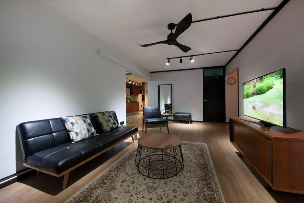Eclectic, HDB, Living Room, Pasir Ris (Block 425), Interior Designer, DreamCreations Interior, Sofa, Couch, Carpet, Coffee Table, Ceiling Fan, Wooden Flooring, Tv Cabinet, Mirror, Track Lights, Furniture, Studio Couch