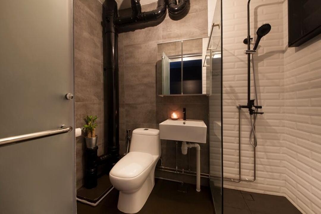 Pasir Ris (Block 425), DreamCreations Interior, Eclectic, Bathroom, HDB, Bathroom Vanity, Mirror, Shower Area, Exposed Pipe, Bathroom Tiles, Toilet, Indoors, Interior Design, Room