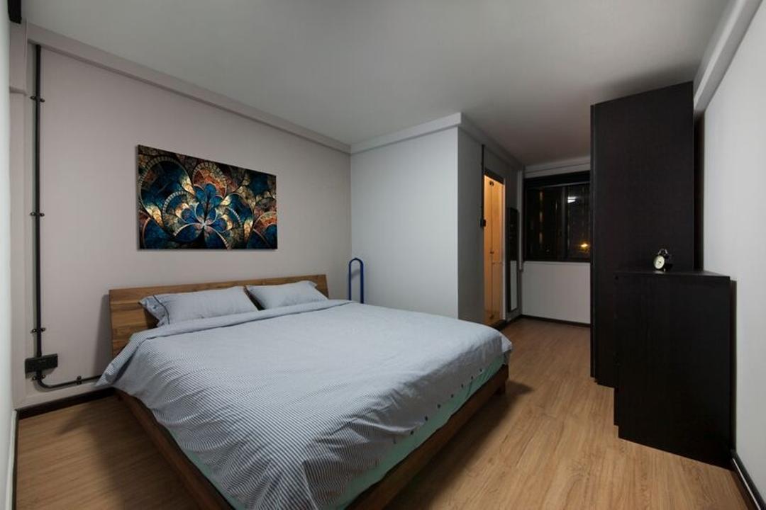 Pasir Ris (Block 425), DreamCreations Interior, Eclectic, Bedroom, HDB, Exposed Pipe, Wooden Flooring, Parquet, Wall Art, Wall Decor, Wall Painting, Headboard, Bed, Furniture, Art, Modern Art, Indoors, Interior Design, Room