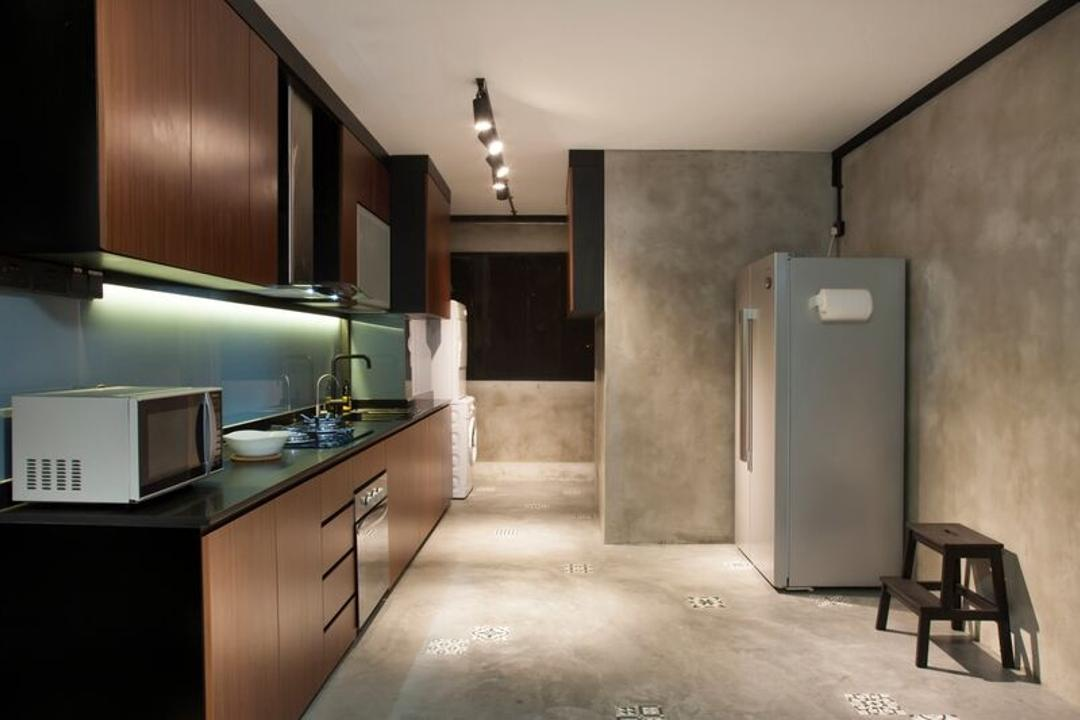 Pasir Ris (Block 425), DreamCreations Interior, Eclectic, Kitchen, HDB, Cement, Cement Screed, Kithcen Cabinets, Cabinetry, Track Lights, Track Lighting, Exhaust Hood