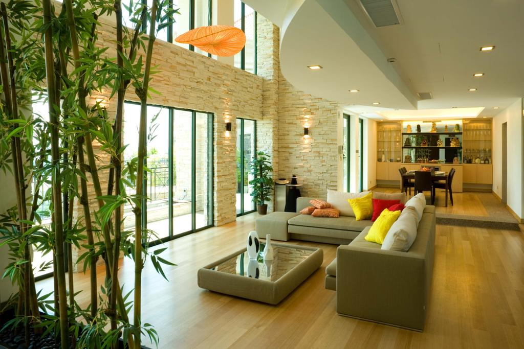 Contemporary, Condo, Living Room, East Coast Penthouse, Interior Designer, Free Space Intent, Bamboo, Flora, Plant, Couch, Furniture, Indoors, Interior Design, Jar, Potted Plant, Pottery, Vase, Arecaceae, Palm Tree, Tree