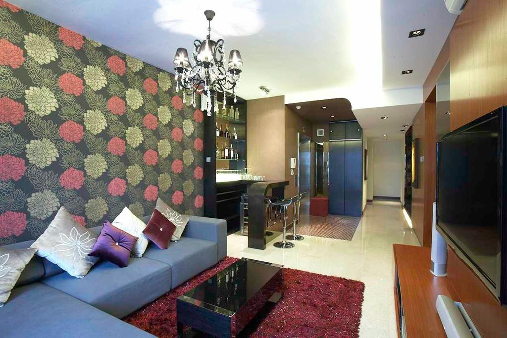 Contemporary, Condo, Living Room, Watermark, Interior Designer, Free Space Intent, Couch, Furniture, Indoors, Room, Lamp Post, Pole