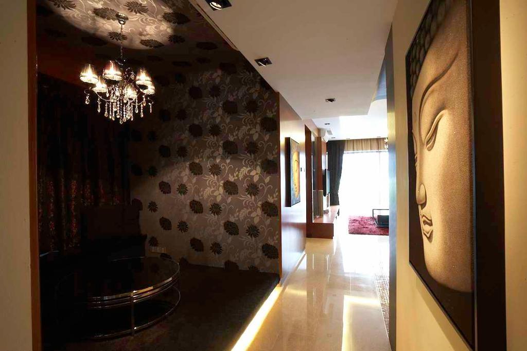 Contemporary, Condo, Living Room, Watermark, Interior Designer, Free Space Intent, Art, Buddha, Worship, Corridor