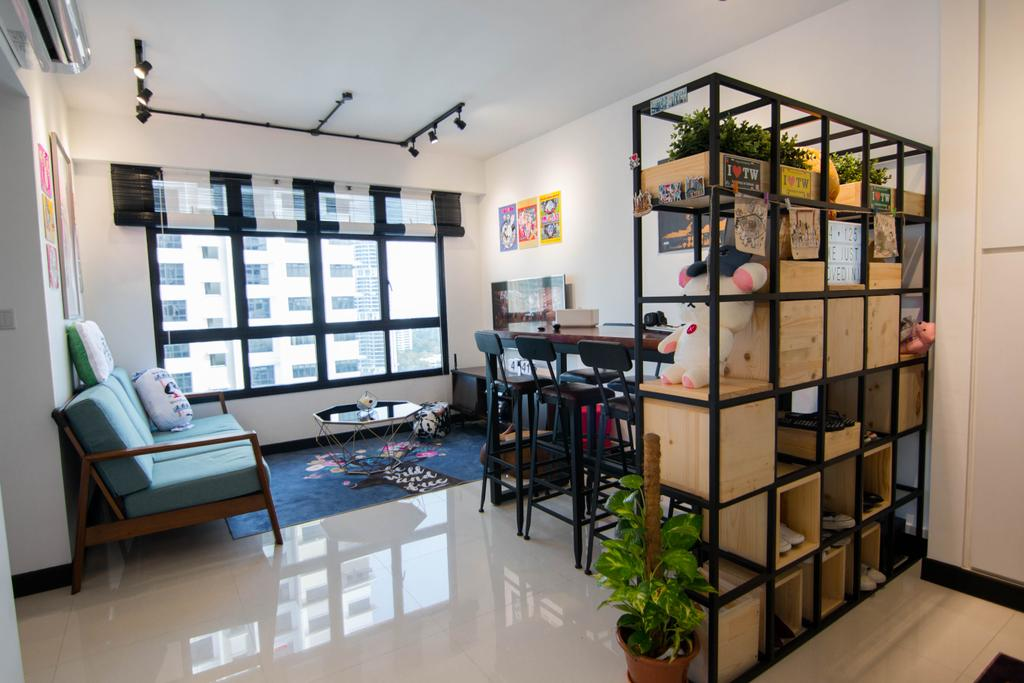Eclectic, HDB, Living Room, Clementi Avenue 6, Interior Designer, 9 Creation, Flora, Jar, Plant, Potted Plant, Pottery, Vase, Shelf