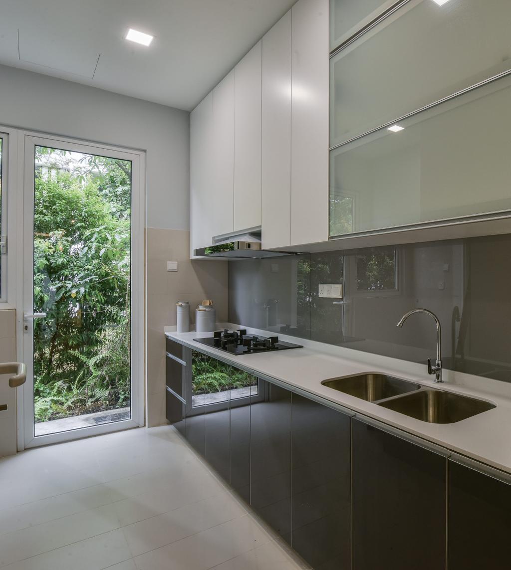 Modern, Landed, Kitchen, Scenaria Super Link, Interior Designer, IQI Concept Interior Design & Renovation, Minimalistic, Sink, Indoors, Interior Design, Room