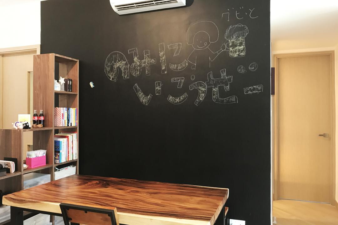 昇薈, CREATIVE Interior Design Engineering, 客廳, 私家樓, Blackboard, Bookcase, Furniture, Plywood, Wood