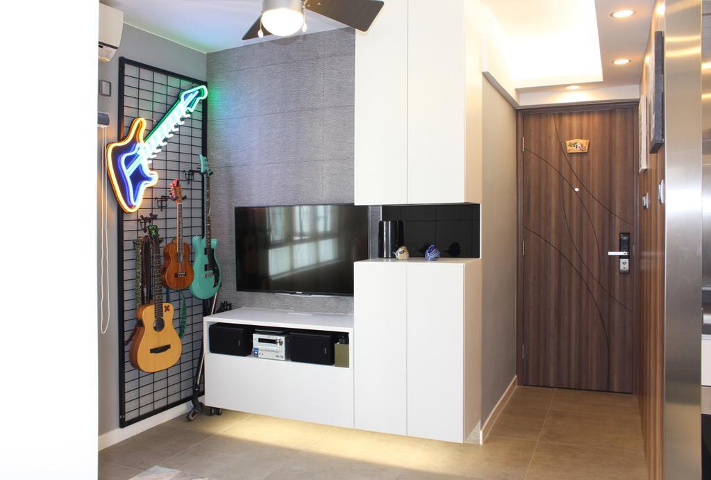 摩登, 私家樓, 客廳, 沙田第一城, 室內設計師, CREATIVE Interior Design Engineering, 隨性, Bass Guitar, Guitar, Leisure Activities, Music, Musical Instrument