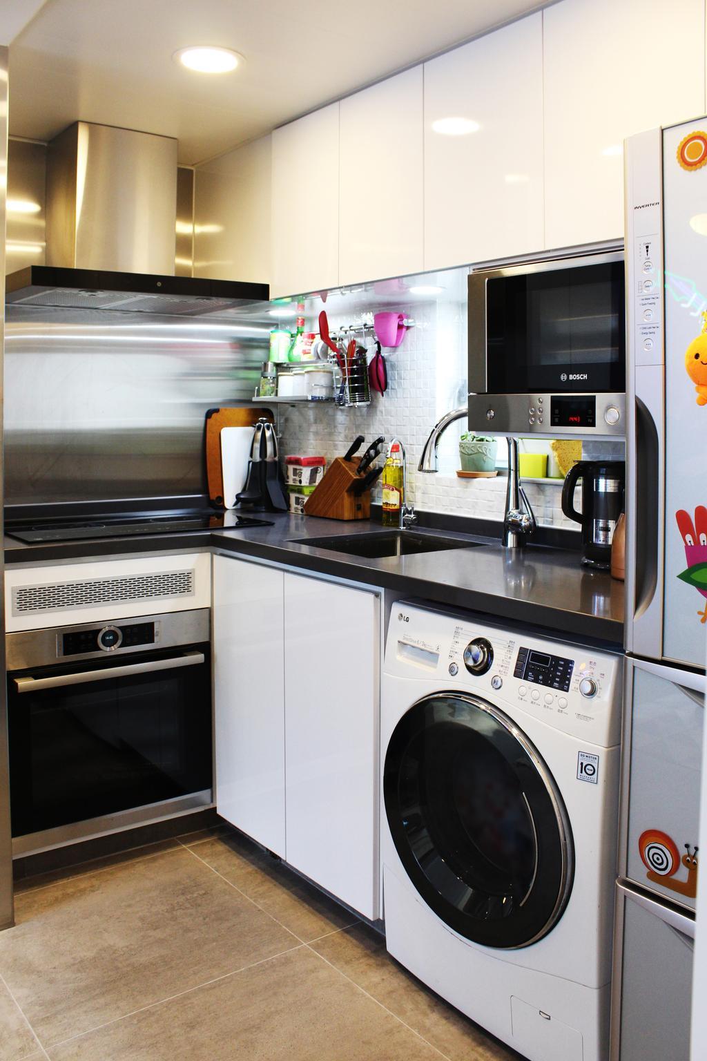 摩登, 私家樓, 廚房, 沙田第一城, 室內設計師, CREATIVE Interior Design Engineering, 隨性, Sink, Appliance, Electrical Device, Oven, Microwave, Washer, Bottle