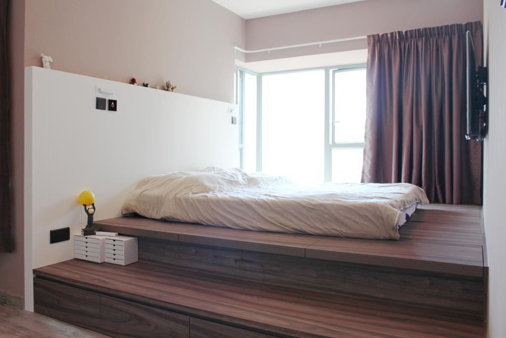 摩登, 私家樓, 睡房, 碧海藍天, 室內設計師, CREATIVE Interior Design Engineering, Bed, Furniture