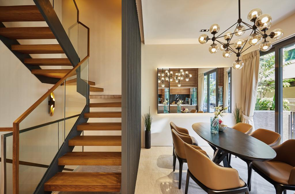Condo, Dining Room, One Surin, Interior Designer, Black N White Haus, Banister, Handrail, Staircase, Chair, Furniture, Indoors, Interior Design, Room, Dining Table, Table