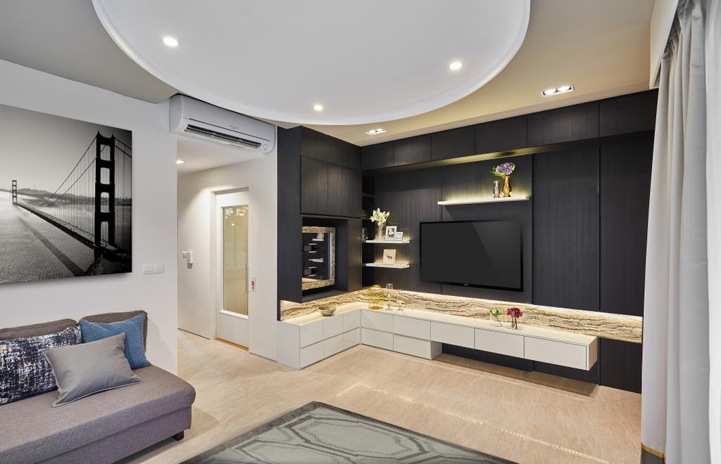 Condo, Living Room, One Surin, Interior Designer, Black N White Haus, Indoors, Interior Design