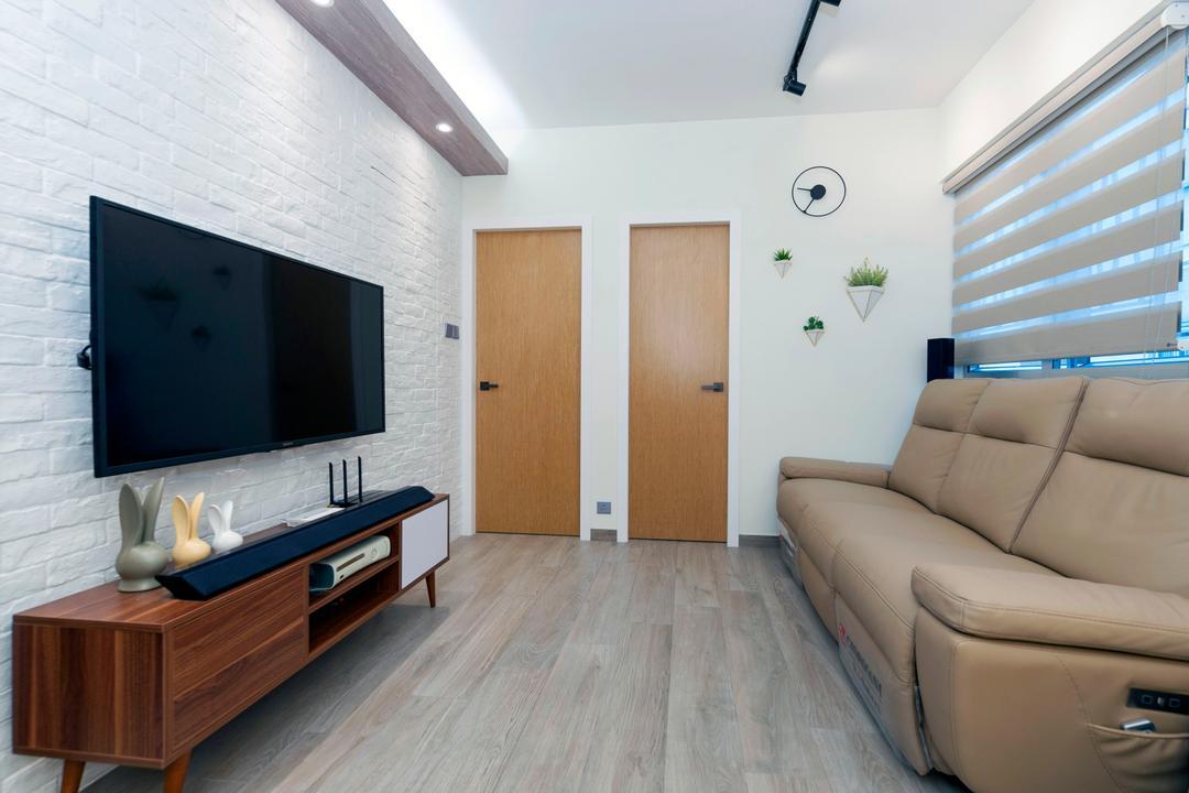 青怡花園, CREATIVE Interior Design Engineering, 北歐, 客廳, 私家樓, Couch, Furniture, Sideboard, Blackboard, Indoors, Interior Design