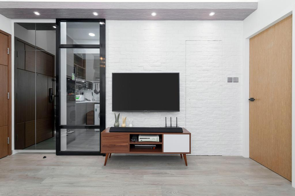 北歐, 私家樓, 客廳, 青怡花園, 室內設計師, CREATIVE Interior Design Engineering, Furniture, Sideboard, Electronics, Entertainment Center
