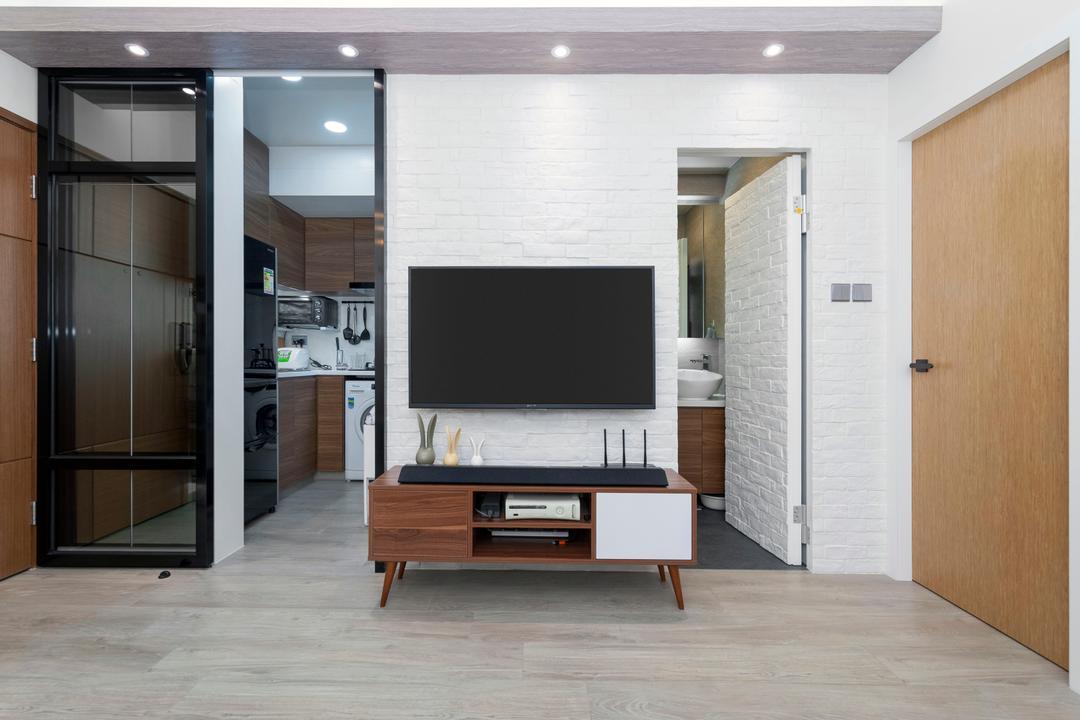 青怡花園, CREATIVE Interior Design Engineering, 北歐, 客廳, 私家樓, Electronics, Entertainment Center, Door, Sliding Door, Furniture, Sideboard