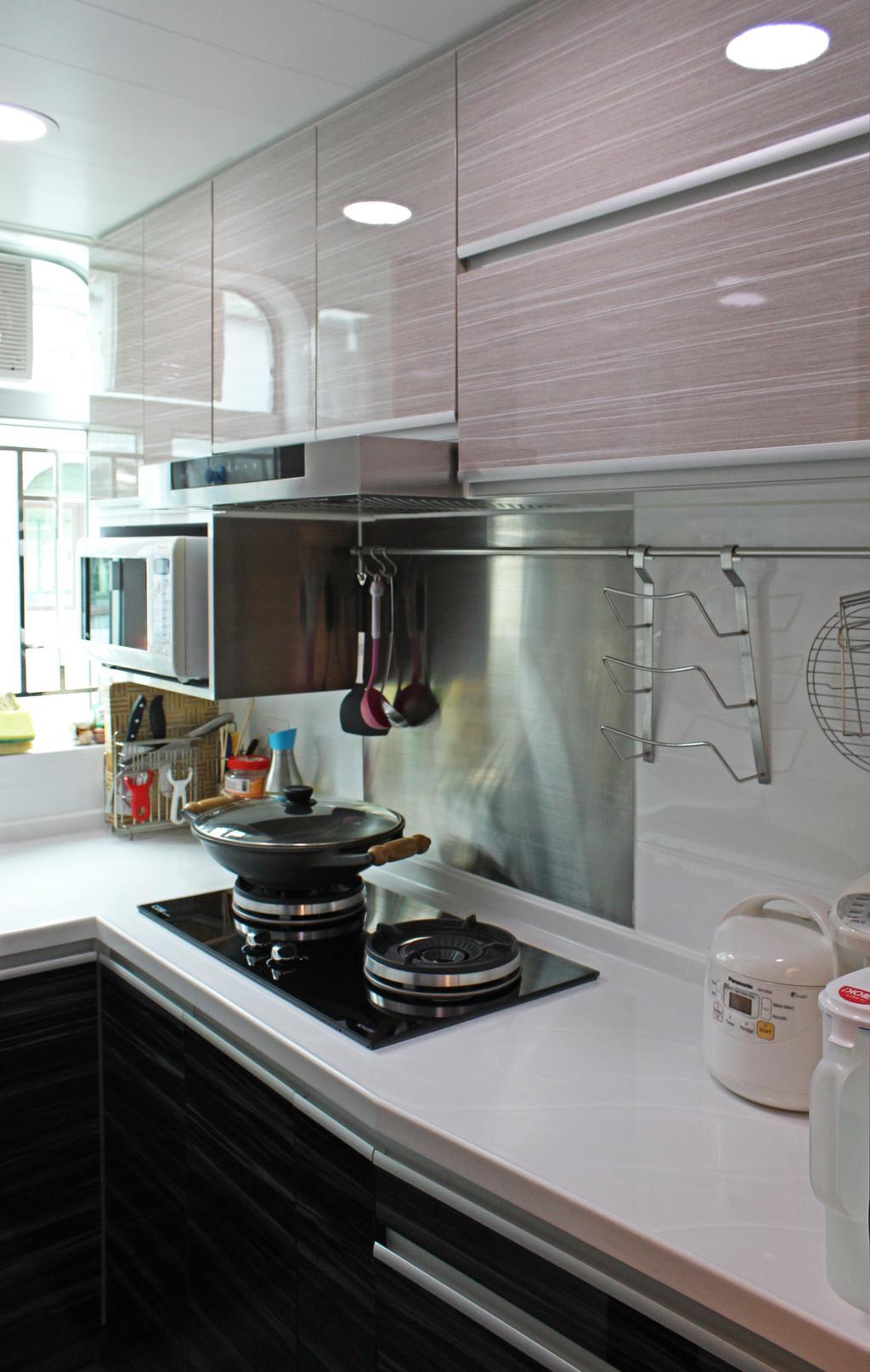 公屋/居屋, 廚房, 灰窰下村, 室內設計師, CREATIVE Interior Design Engineering, Appliance, Electrical Device, Microwave, Oven