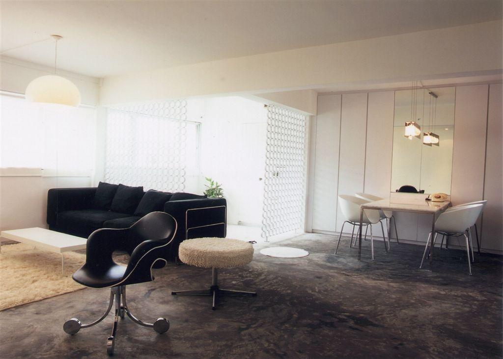 Industrial, HDB, Living Room, Tampines, Interior Designer, Free Space Intent, Chair, Furniture, Dining Table, Table