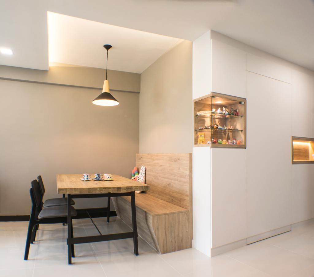 Modern, HDB, Dining Room, Sumang Lane, Interior Designer, Flo Design, Indoors, Interior Design, Room, Dining Table, Furniture, Table, Shelf, Chair
