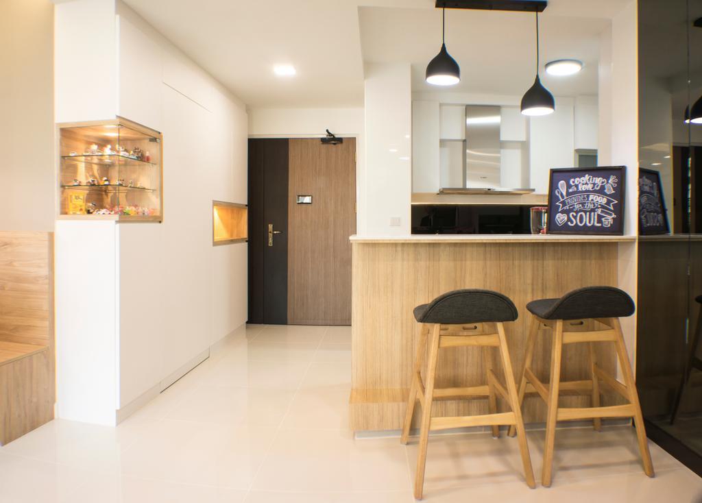 Modern, HDB, Dining Room, Sumang Lane, Interior Designer, Flo Design, Bar Stool, Furniture, Shelf, Chair, Indoors, Interior Design, Room