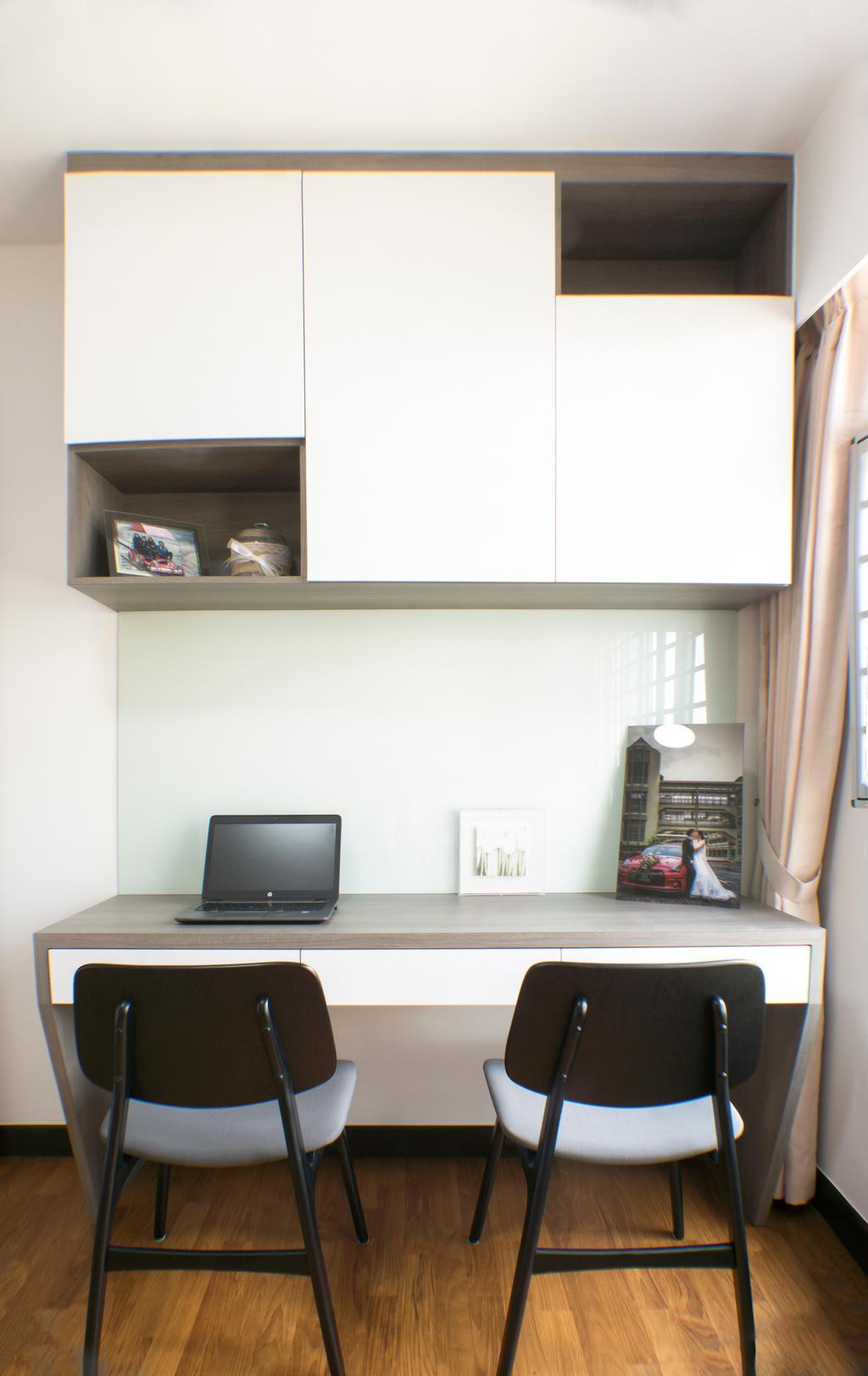 Modern, HDB, Study, Sumang Lane, Interior Designer, Flo Design, Computer, Electronics, Laptop, Pc, Clothing, Gown, Robe, Wedding Gown, Shelf