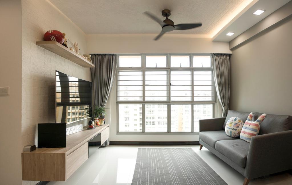 Modern, HDB, Living Room, Sumang Lane, Interior Designer, Flo Design, Couch, Furniture, Electronics, Monitor, Screen, Tv, Television, Indoors, Interior Design