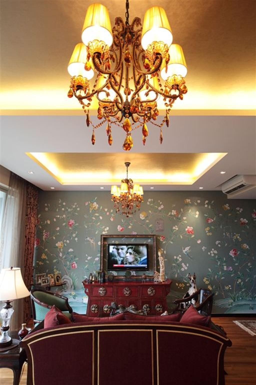 Vintage, Condo, Living Room, Mounbatten Riveredge, Interior Designer, Free Space Intent, Chandelier, Shanghai Inspired, Oriental, Hanging Lights, Velvet Sofa, Tv Console, Floral Wallpaper, Maroon, Wine Red, Lamp
