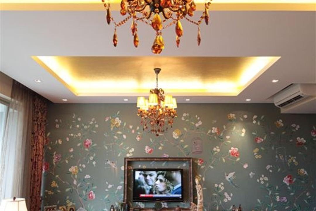 Mounbatten Riveredge, Free Space Intent, Vintage, Living Room, Condo, Chandelier, Shanghai Inspired, Oriental, Hanging Lights, Velvet Sofa, Tv Console, Floral Wallpaper, Maroon, Wine Red, Lamp
