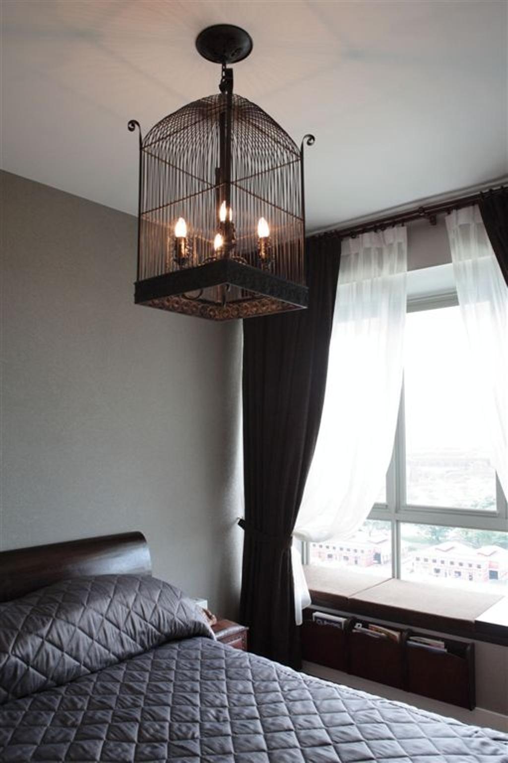 Vintage, Condo, Bedroom, Mounbatten Riveredge, Interior Designer, Free Space Intent, Lantern Lamp, Curtains, Lantern, Caged Lamp, Cage Lamp, Bay Window, Window Ledge, Window Seat, Fireplace, Hearth