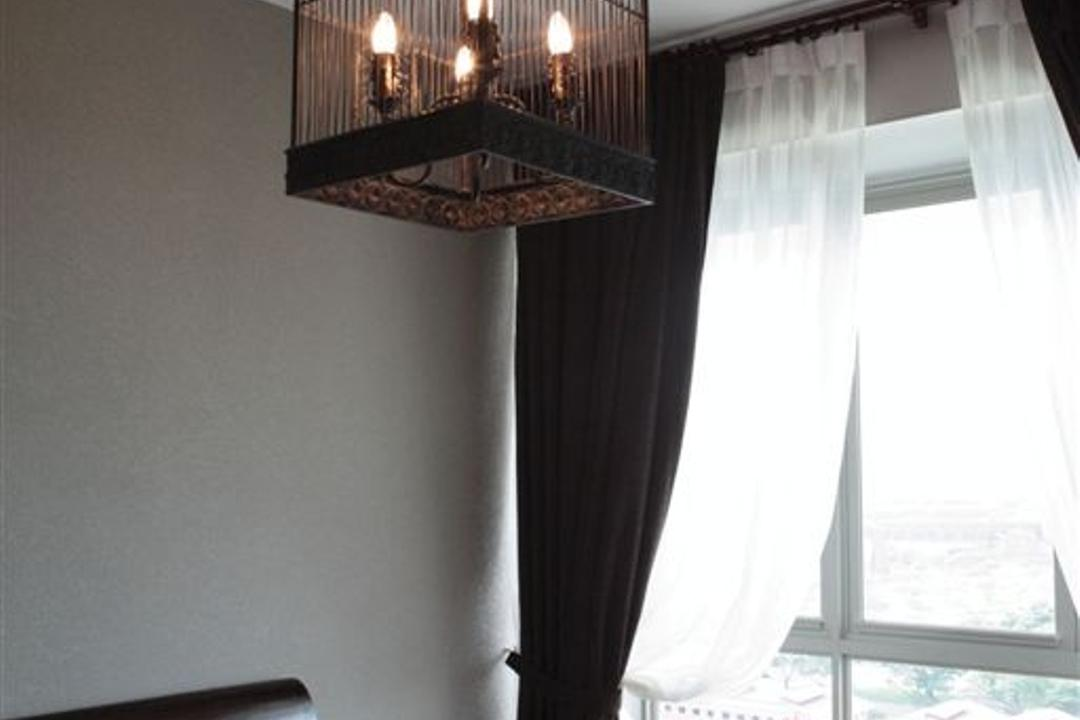Mounbatten Riveredge, Free Space Intent, Vintage, Bedroom, Condo, Lantern Lamp, Curtains, Lantern, Caged Lamp, Cage Lamp, Bay Window, Window Ledge, Window Seat, Fireplace, Hearth