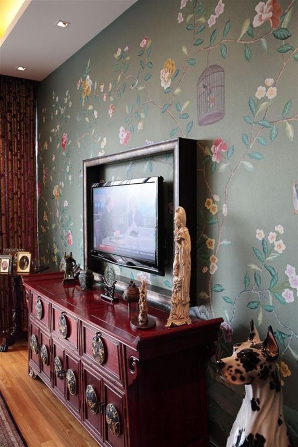 Vintage, Condo, Living Room, Mounbatten Riveredge, Interior Designer, Free Space Intent, Decor, Statues, Figurines, Chinese, Oriental, Floral Wallpaper