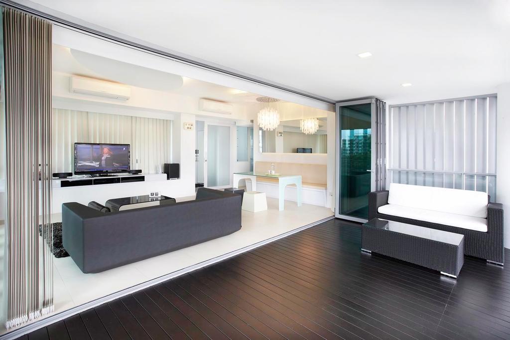 Contemporary, Condo, Living Room, Pavillion, Interior Designer, Free Space Intent, Electronics, Entertainment Center, Home Theater, Indoors, Interior Design, Door, Sliding Door