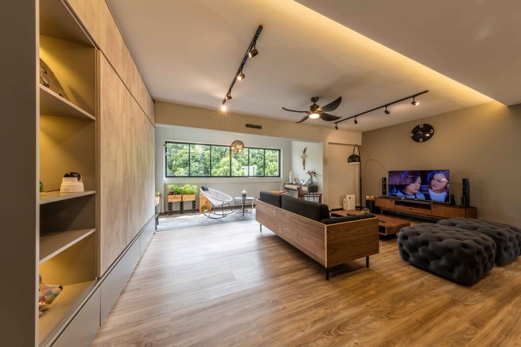 Industrial, Condo, Living Room, Florence Regency, Interior Designer, Ciseern, Flooring, Indoors, Interior Design