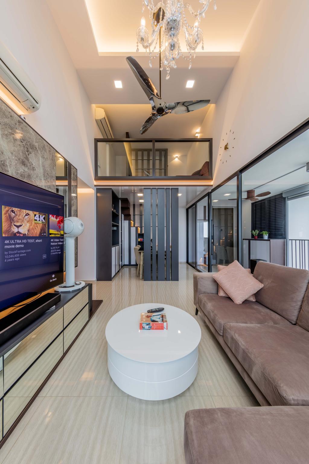 Contemporary, Condo, Living Room, Lush Acres, Interior Designer, Ciseern, Banister, Handrail, Staircase, Door, Sliding Door, Molding