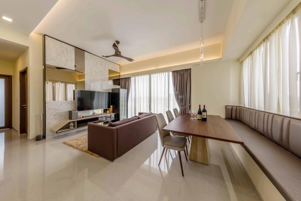 Modern, Condo, Living Room, Riverside Melodies, Interior Designer, Ciseern, Dining Table, Furniture, Table, Indoors, Interior Design, Flooring, Room, Molding