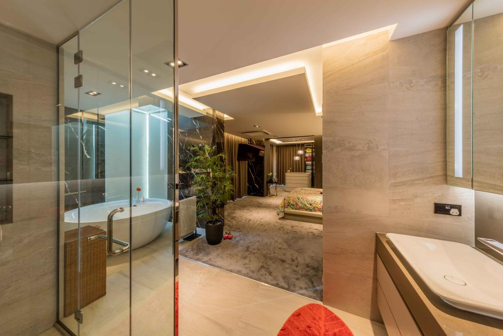Contemporary, Landed, Bathroom, Springleaf Crescent, Interior Designer, Ciseern, Sink, Door, Sliding Door, Indoors, Interior Design, Room, HDB, Building, Housing